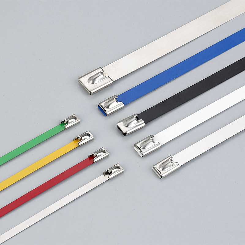 Epoxy coated ball-lock stainless steel cable tie